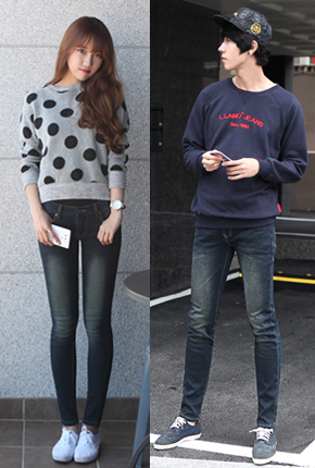 (male / female Couples) brushed bonding <br> NA623 NA628 <BR> Street lights light Jeans