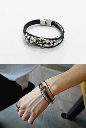 JG110 (FREE) <BR> chic layering leather bracelet