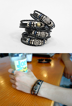 JG1 (FREE) <BR> Vintage Layered Leather Bracelet