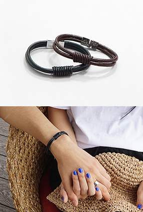 JG111 (FREE) <BR> Simple leather bracelet