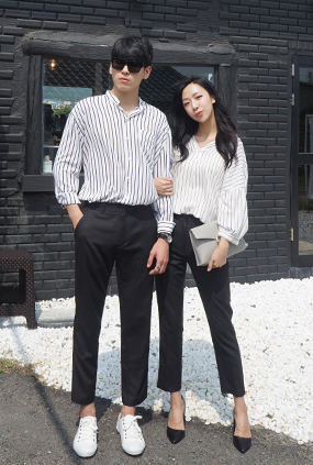 (male / female Couples) <BR> NA1051 NA1047 <BR> Cranes Slacks (Black)