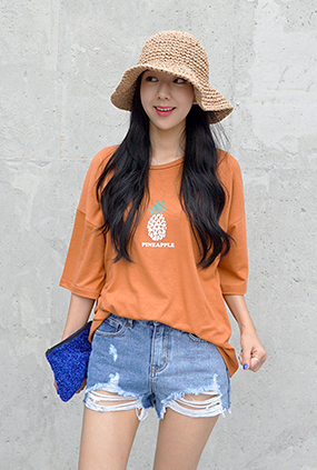 ★ Summer only ★ <BR> T-shirt uniform price <BR> Pineapple T-Charcoal / Blue / Navy
