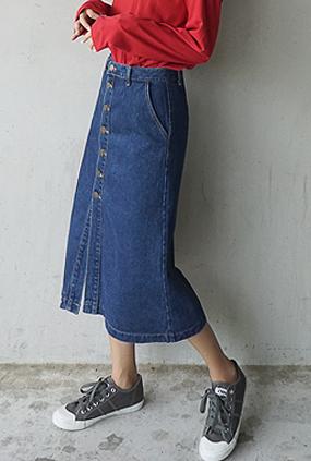 D739 (S ~ L) <br> Scorp Button Denim Skirt
