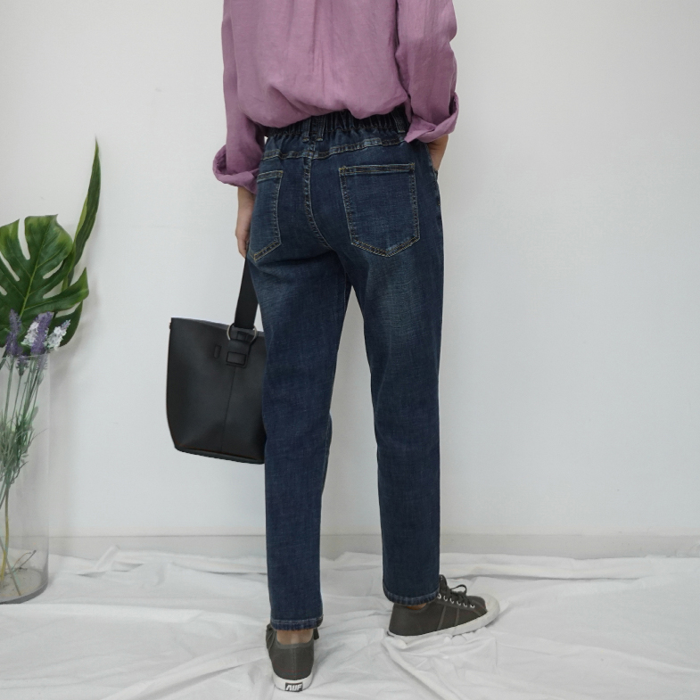 NA1401 (S to XXL) <br> Pierce back banding Baggy jeans